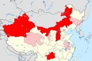 中国の砒素汚染マップ