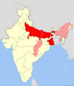 インドの砒素汚染地図