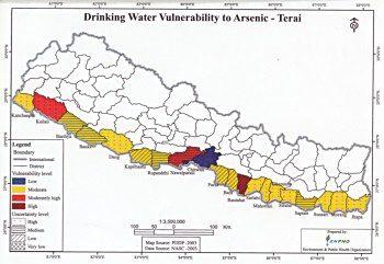 ネパールの砒素汚染地図